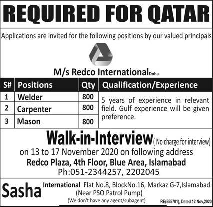 MS Redco International Jobs November 2020