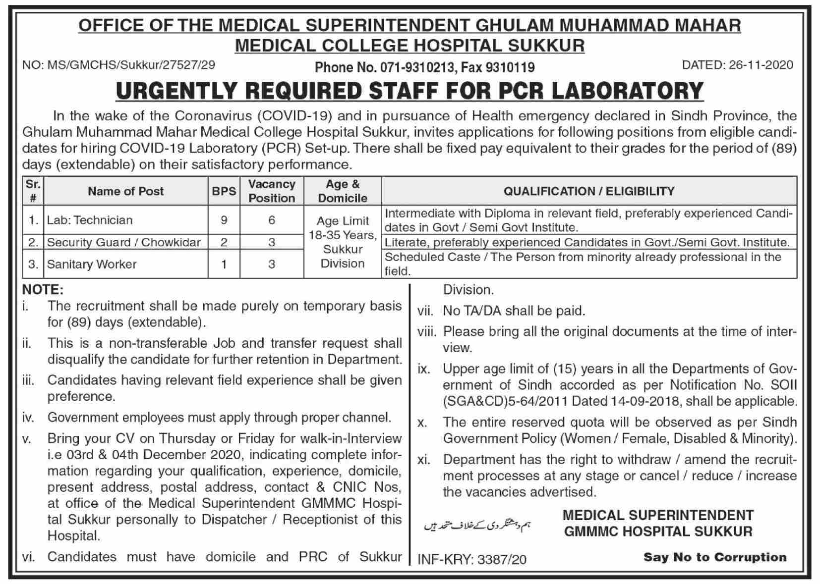 Medical College Hospital Sukkur Jobs November 2020