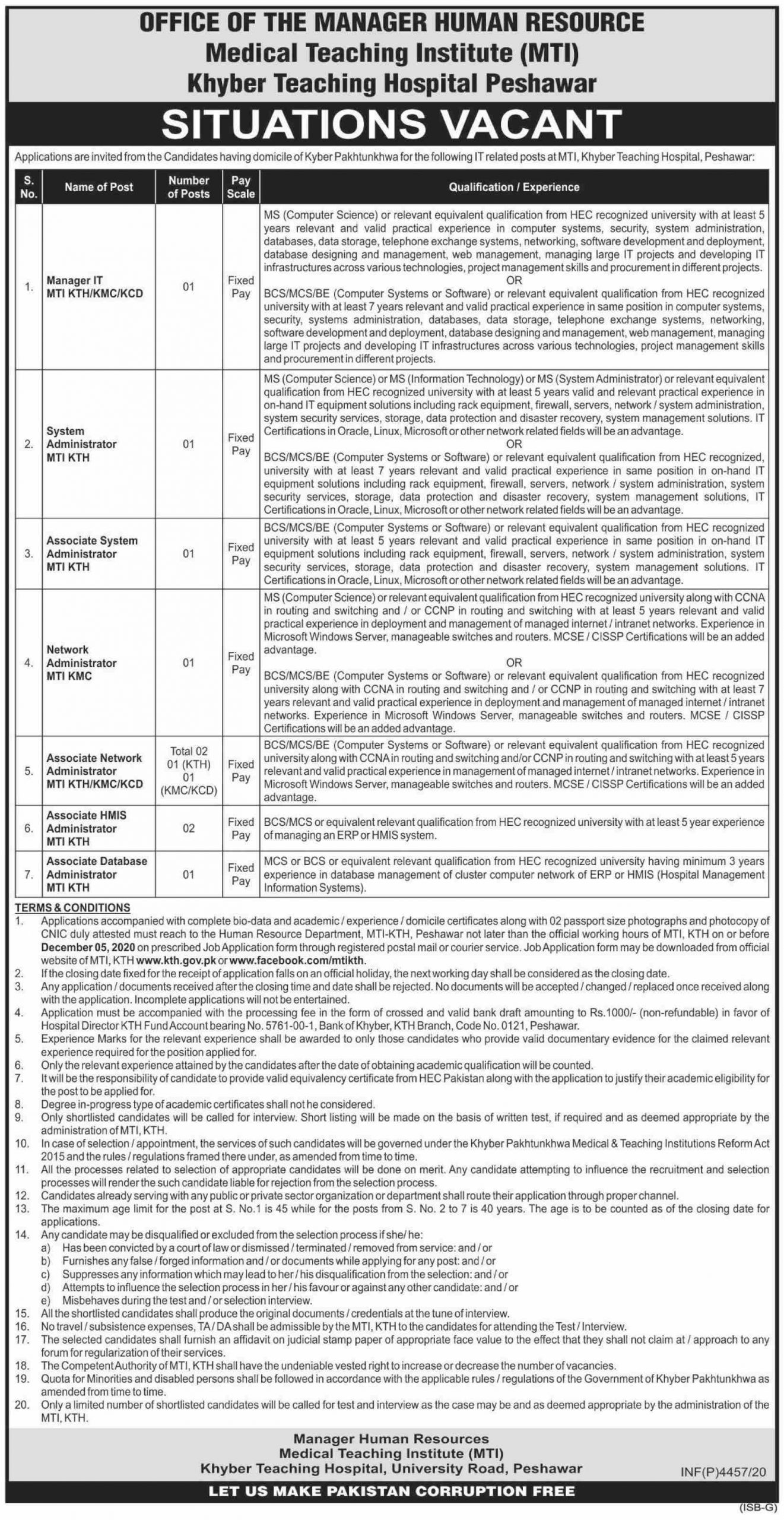 Medical Teaching Institute MTI Khyber Teaching Hospital Jobs November 2020