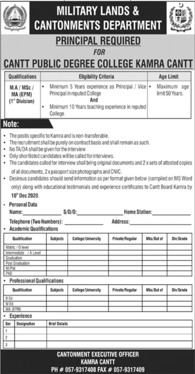 Military Lands & Cantonments Department Jobs November 2020