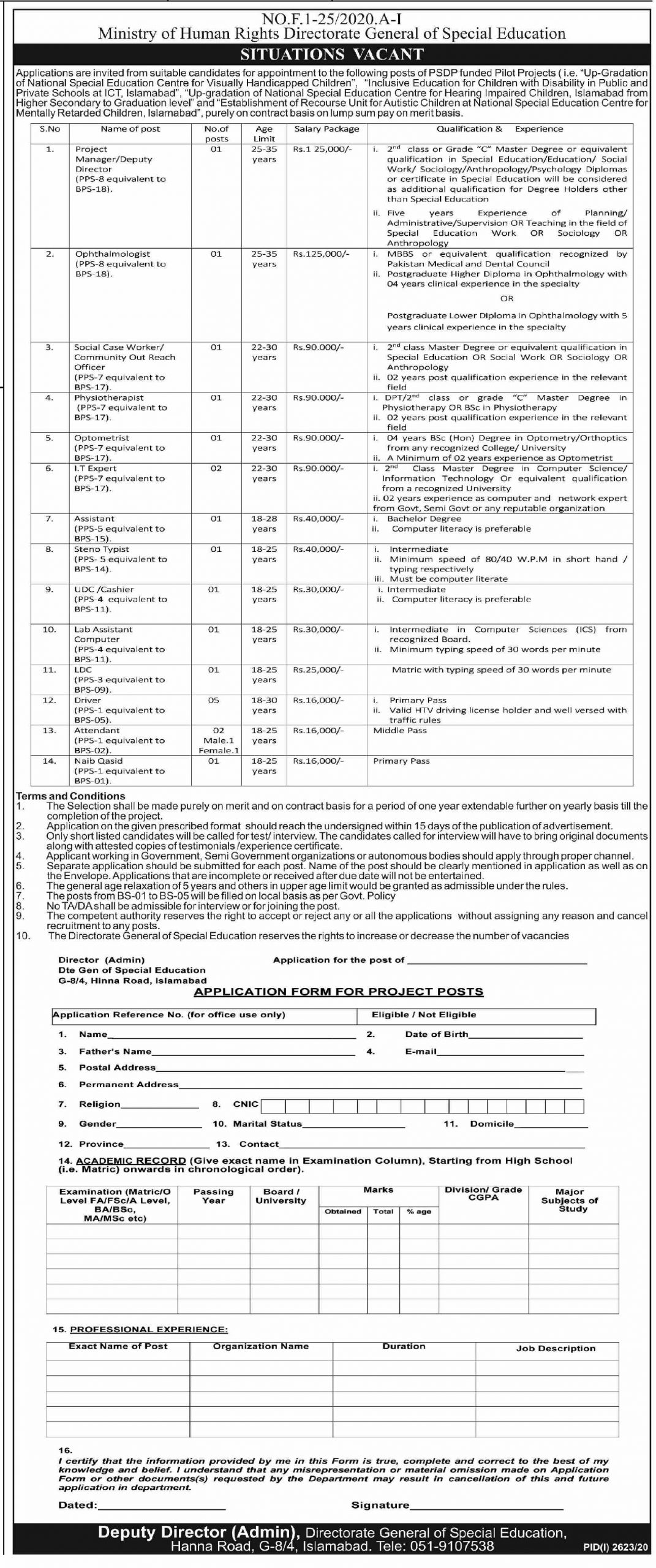 Ministry of Human Rights Directorate General of Special Education Jobs November 2020