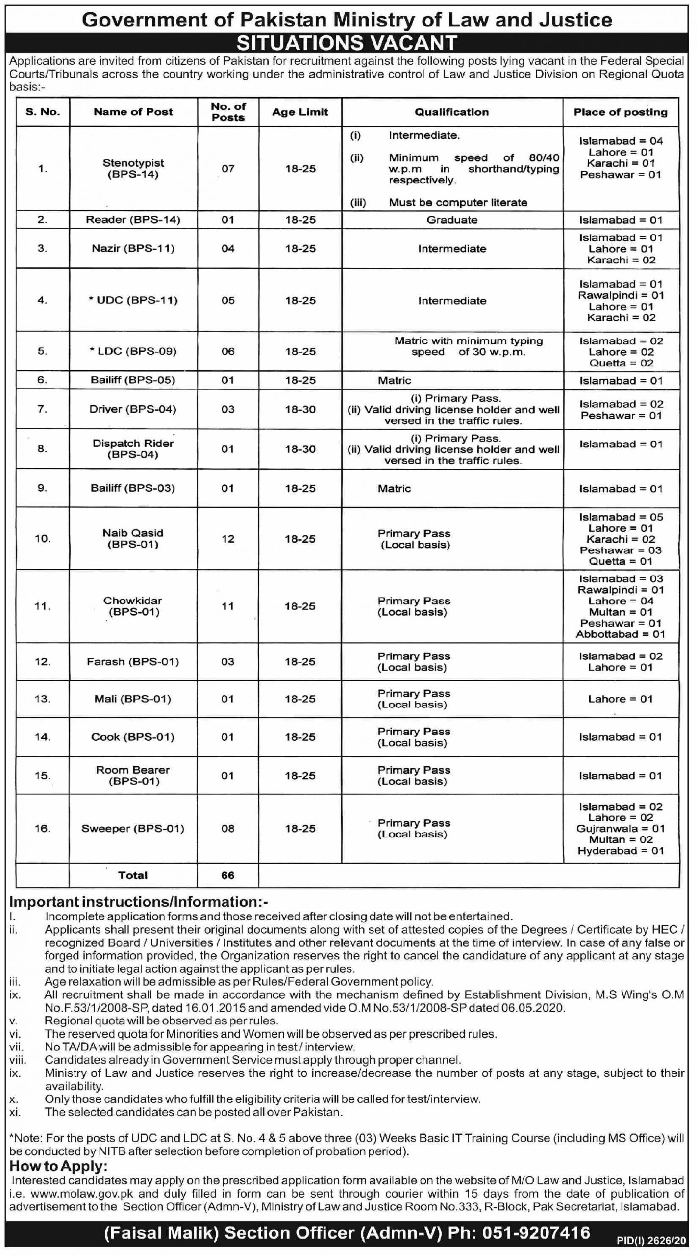 Ministry of Law and Justice Government of Pakistan Jobs November 2020