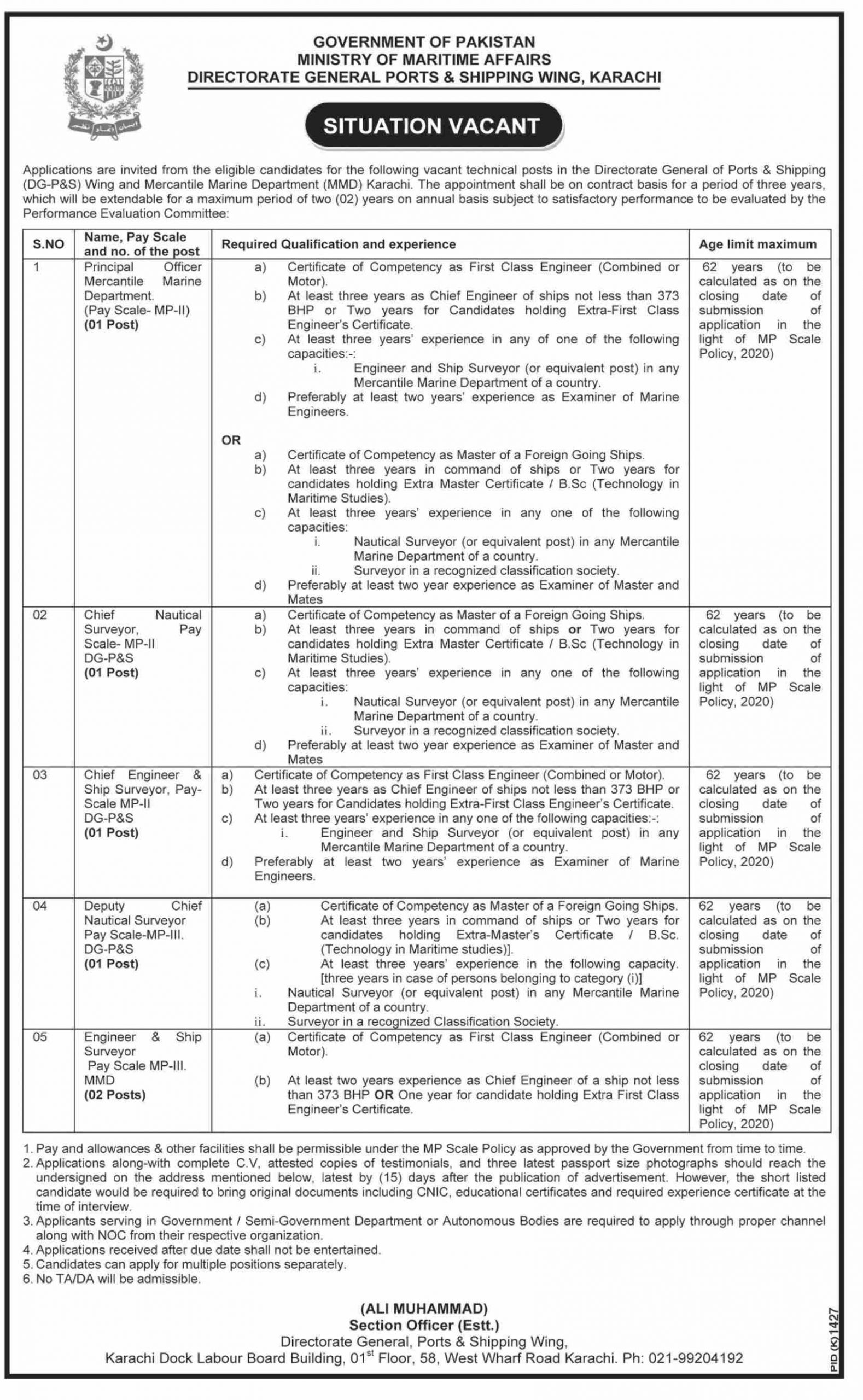 Ministry of Maritime Affairs Jobs November 2020