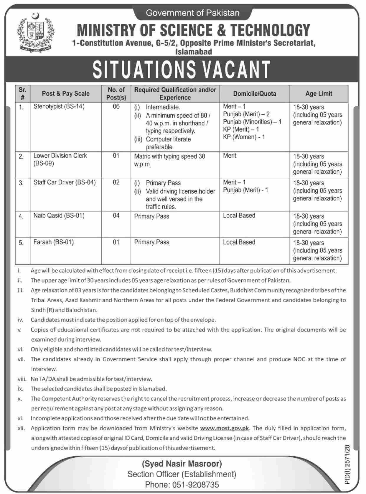 Ministry of Science & Technology Jobs November 2020