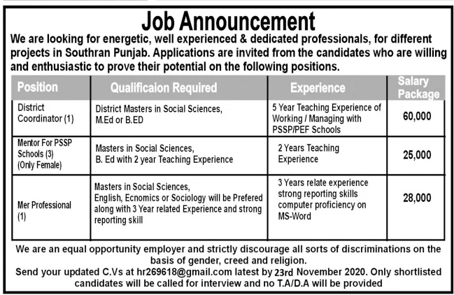 Multiple Projects in Southran Punjab Jobs November 2020