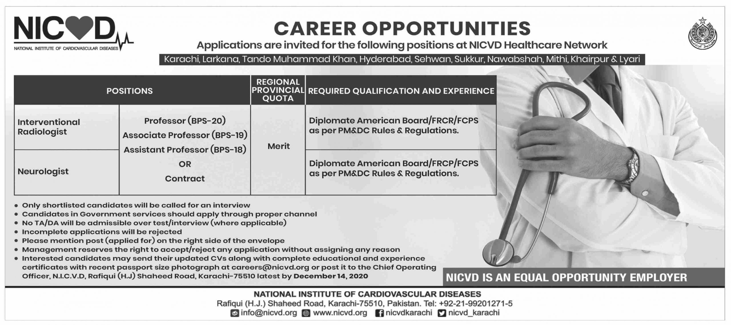 National Institute of Cardiovascular Diseases NICVD Jobs November 2020
