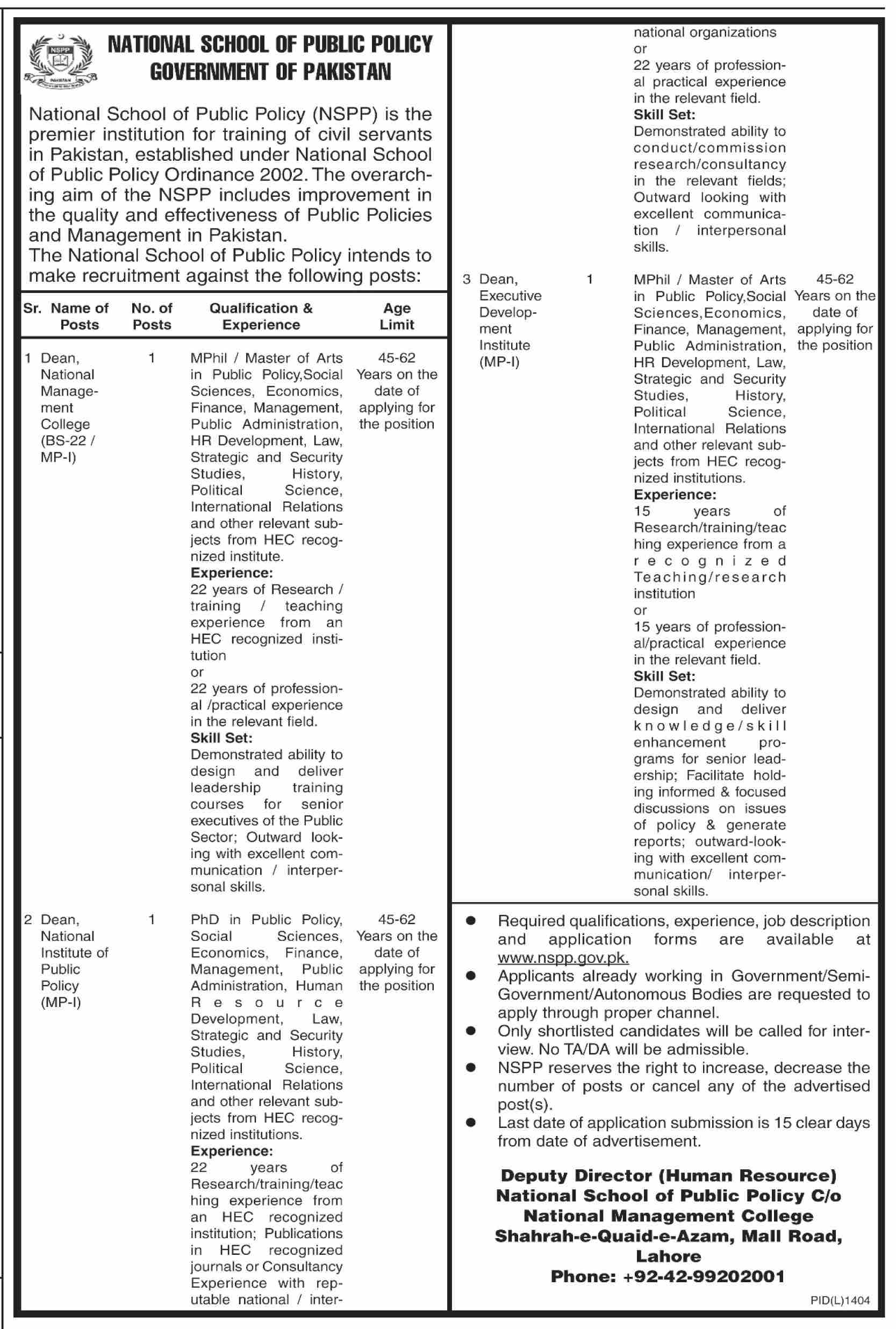 National School of Public Policy NSPP Jobs November 2020