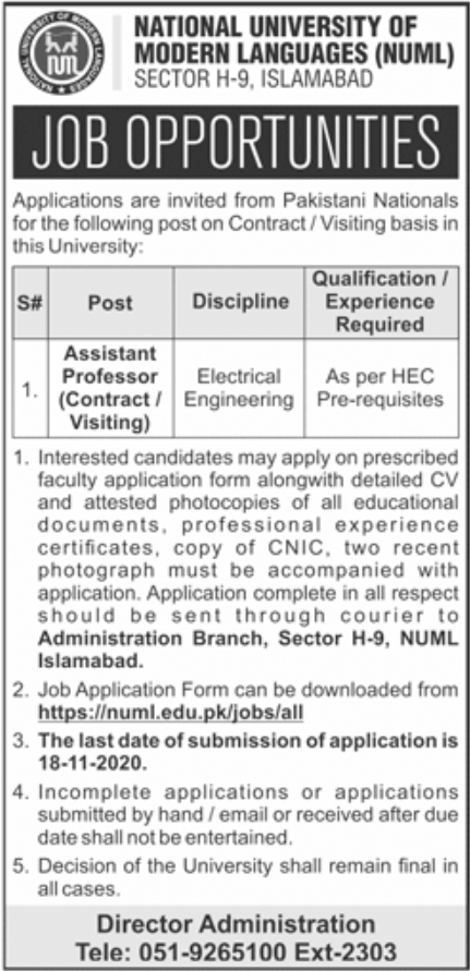 National University of Modern Languages NUML Jobs November 2020