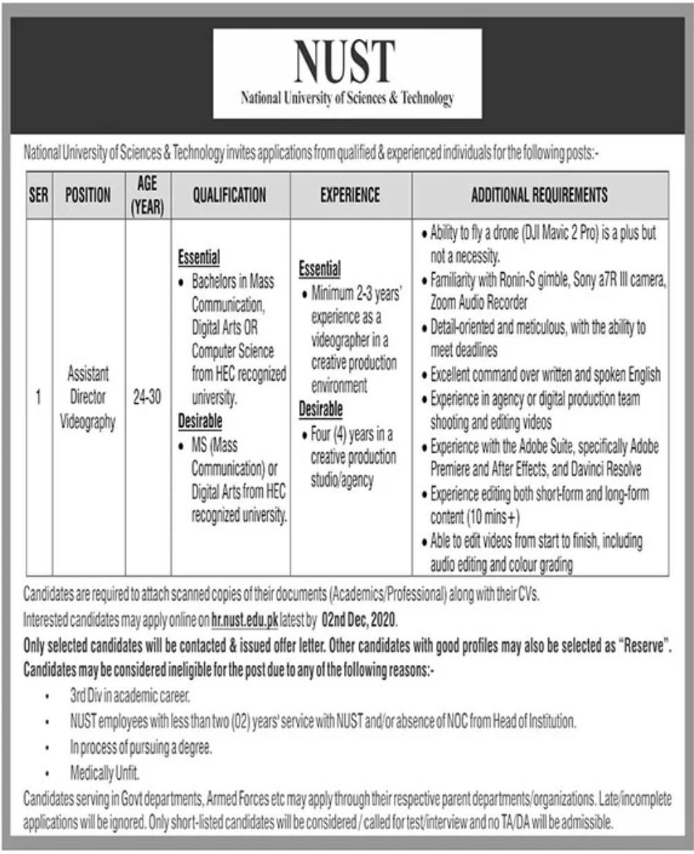 National University of Sciences & Technology NUST Jobs November 2020