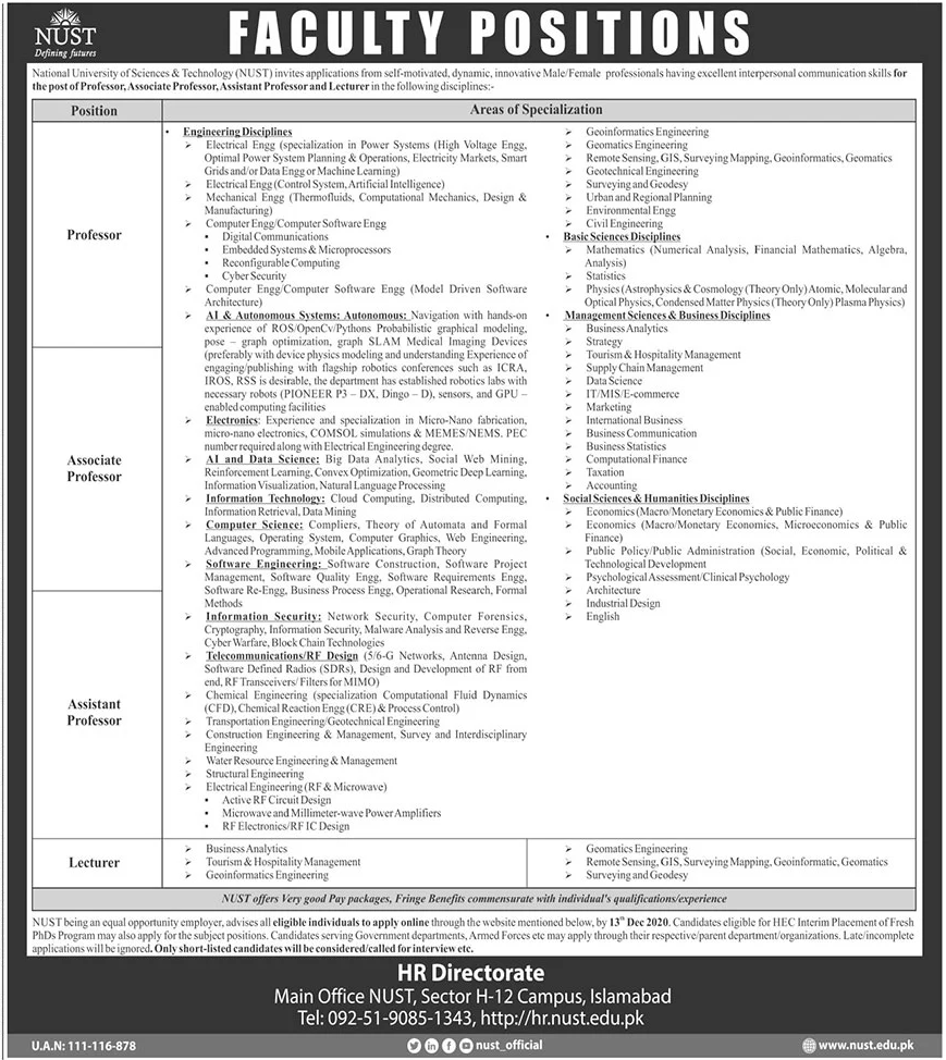 National University of Sciences and Technology NUST Jobs November 2020