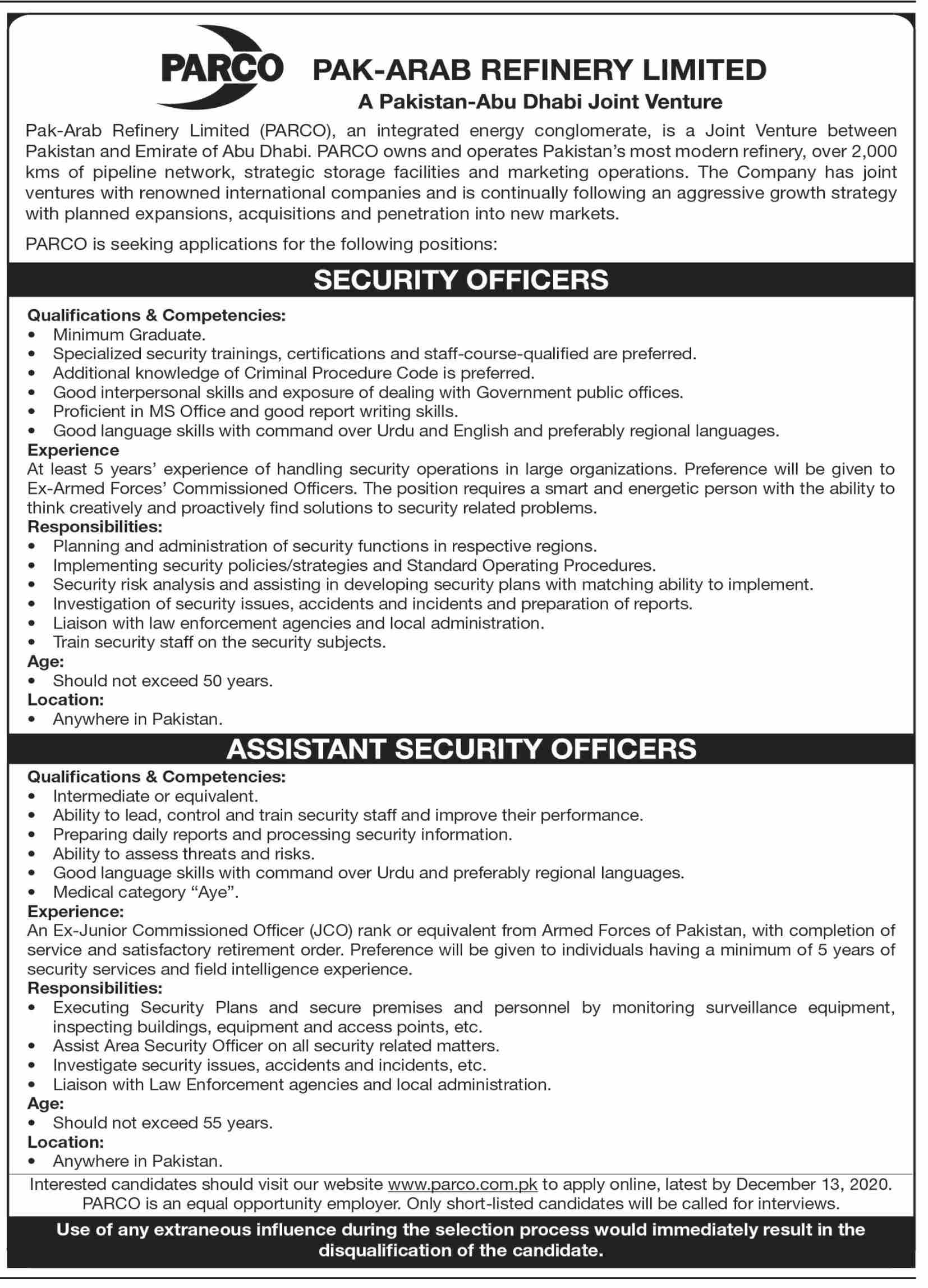 PARCO Pak-Arab Refinery Limited Jobs November 2020