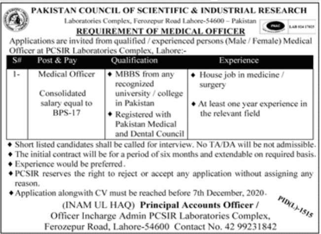 Pakistan Council of Scientific & Industrial Research Jobs November 2020