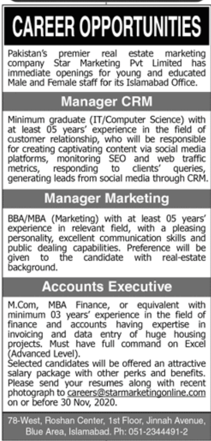 Pakistans Premier Real Estate Marketing Company Jobs November 2020