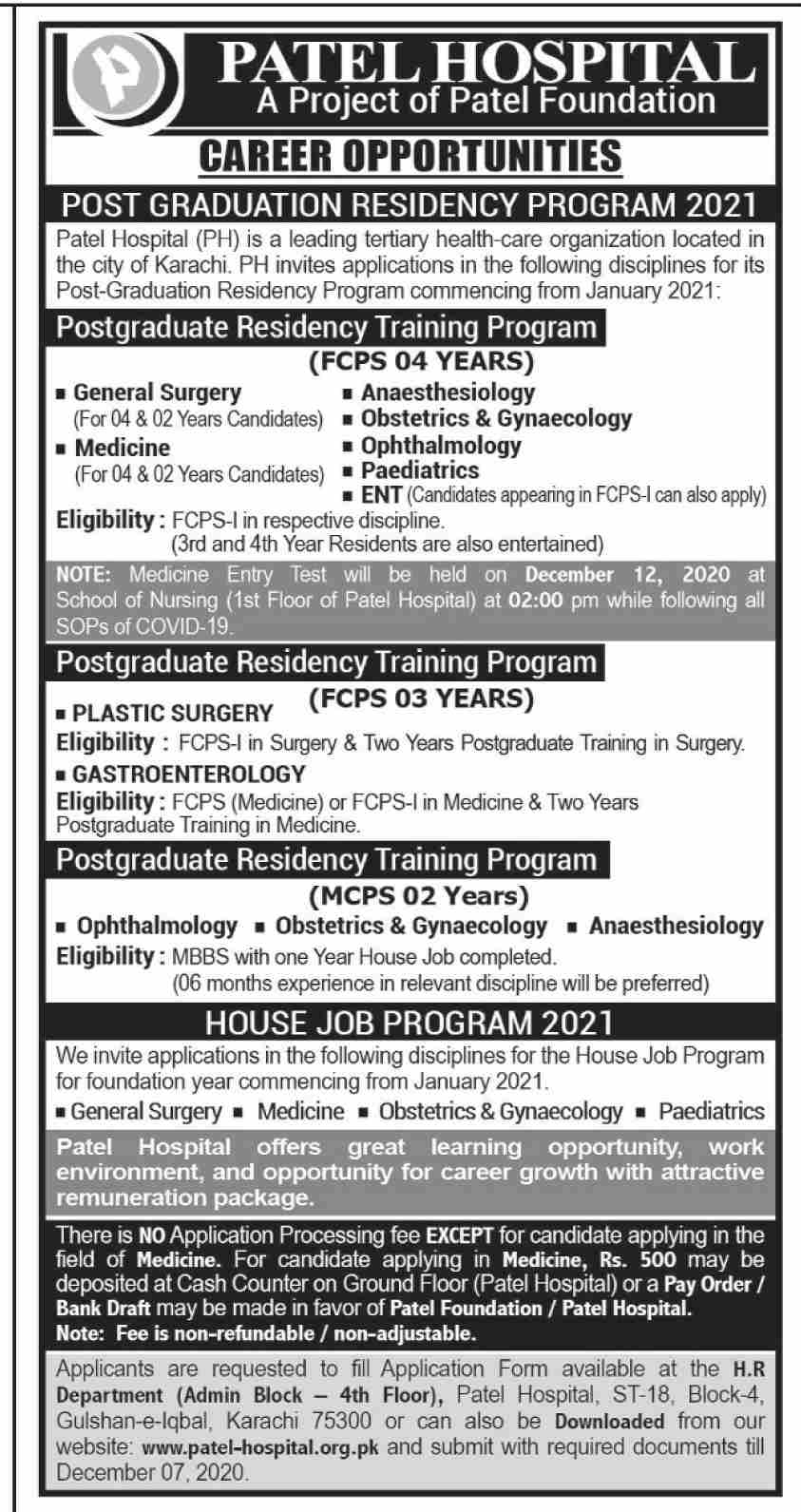 Patel Hospital PH Jobs November 2020