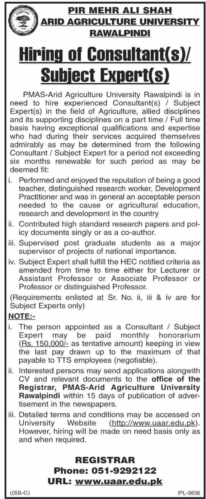 Pir Mehr Ali Shah Arid Agriculture University Jobs November 2020