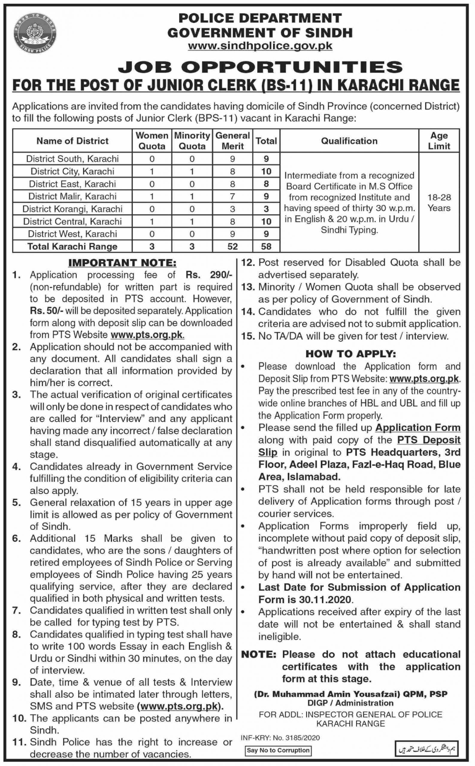 Police Department Government of Sindh Latest Jobs November 2020