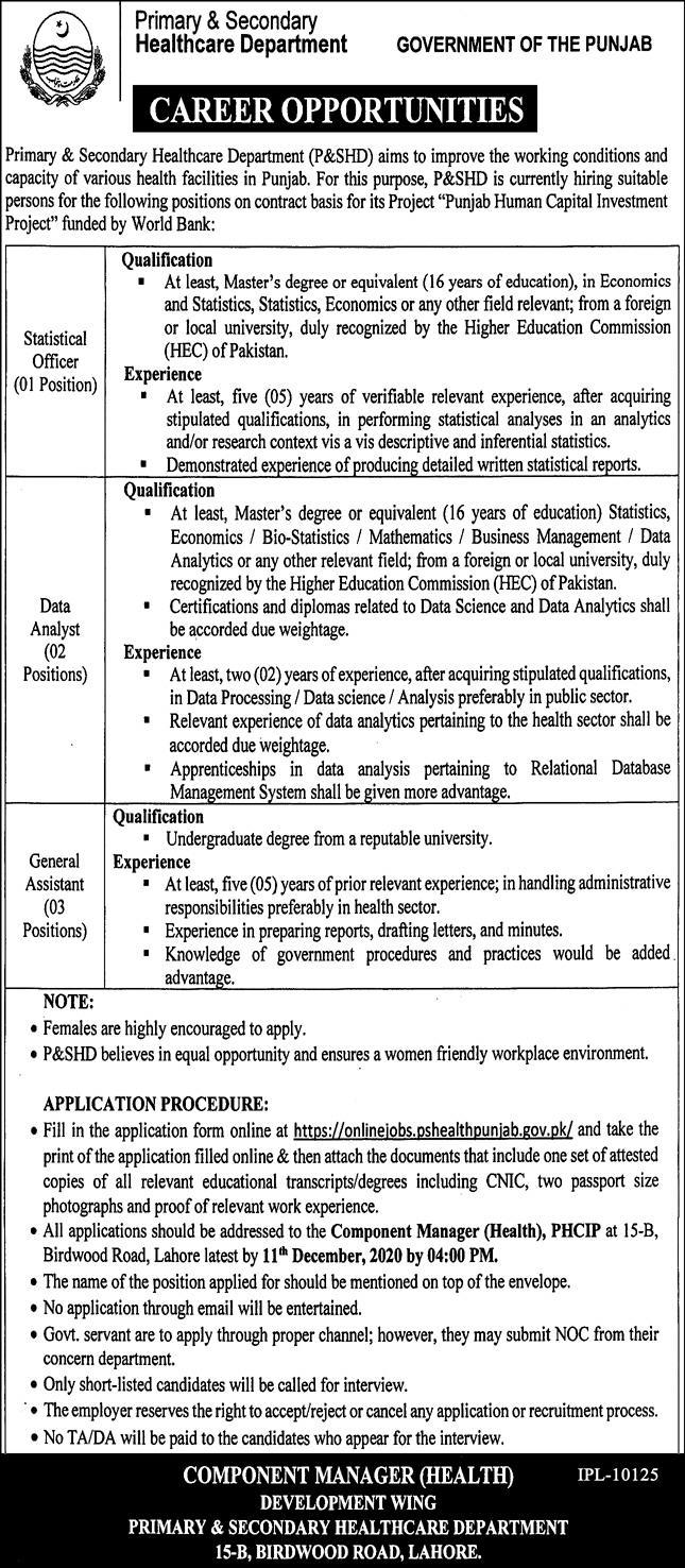 Primary & Secondary Healthcare Department Jobs November 2020