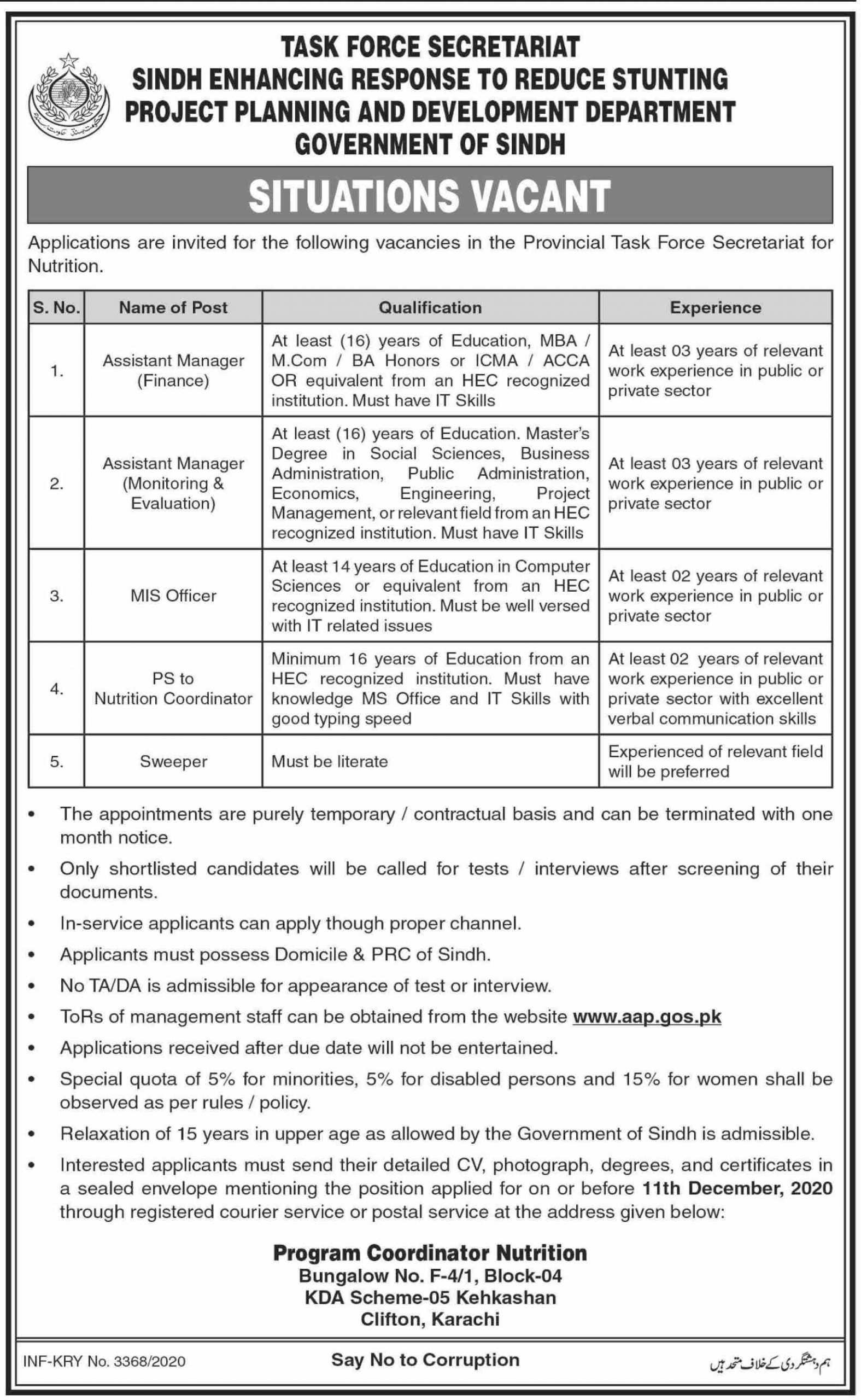 Project Planning and Development Department Jobs November 2020