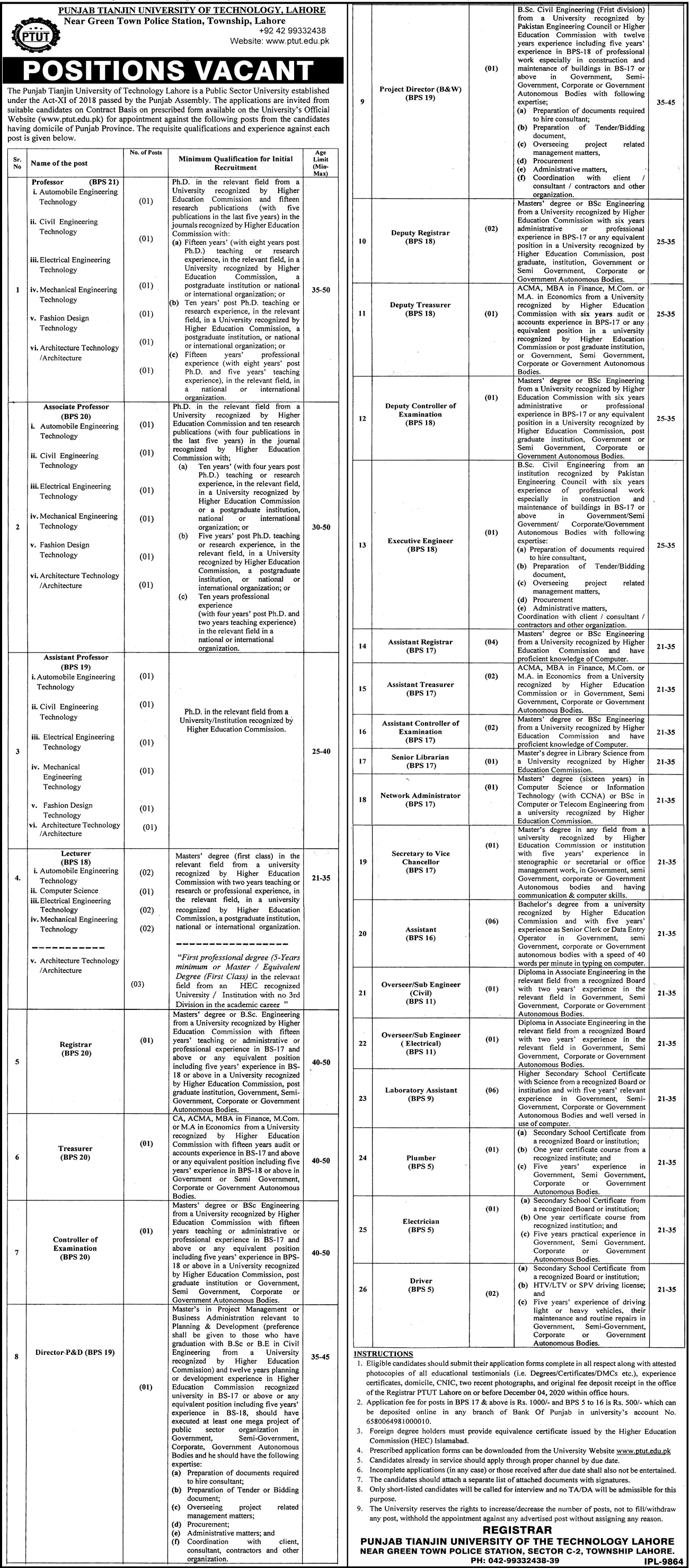 Punjab Tianjin University of Technology Lahore Jobs November 2020