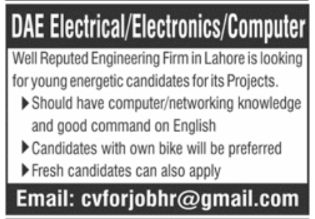 Reputed Engineering Firm Lahore Jobs November 2020