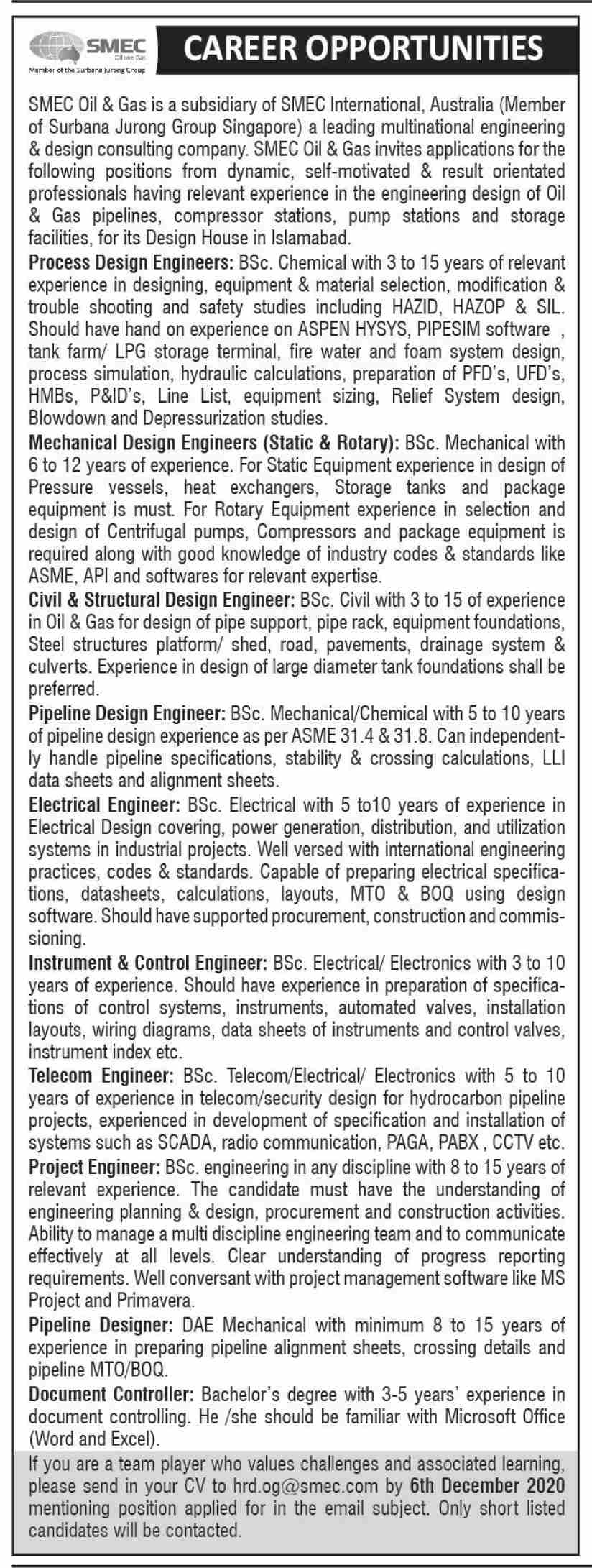 SMEC Oil & Gas Jobs November 2020