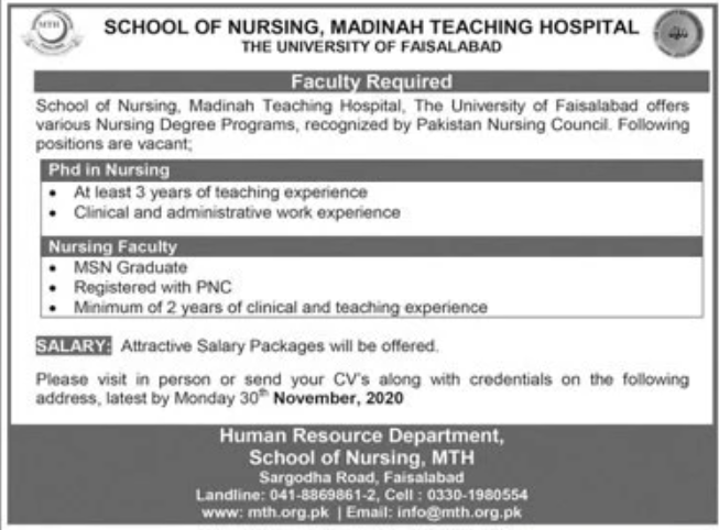 School of Nursing Madinah Teaching Hospital Jobs November 2020