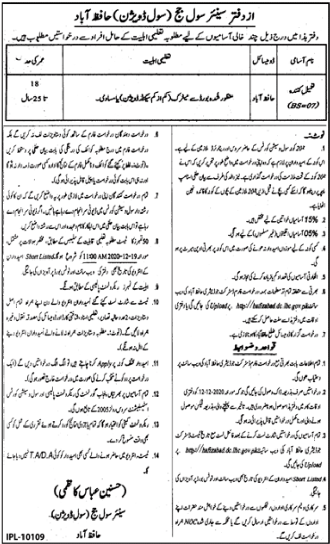 Senior Civil Judge Hafiz Abad Jobs November 2020