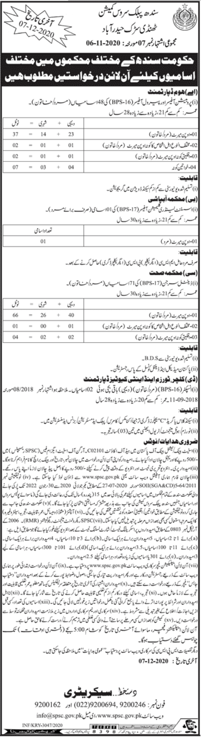 Sindh Public Service Commission Hyderabad Jobs November 2020