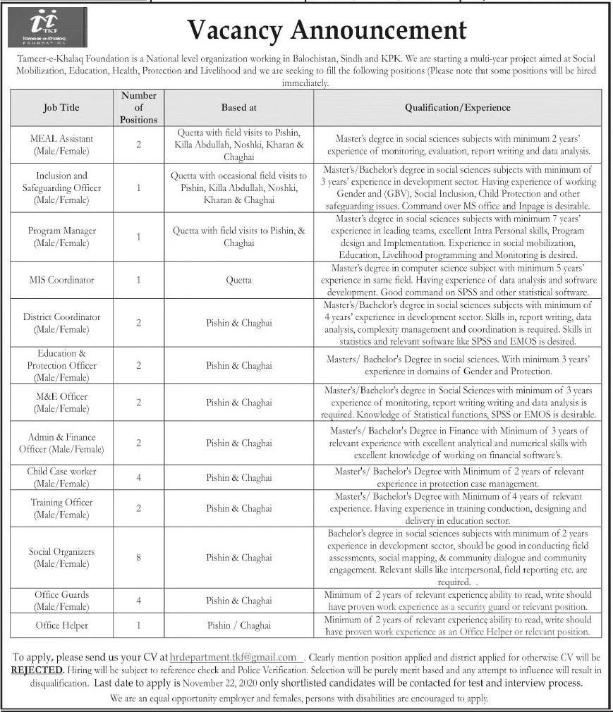 Tameer e Khalaq Foundation Jobs November 2020