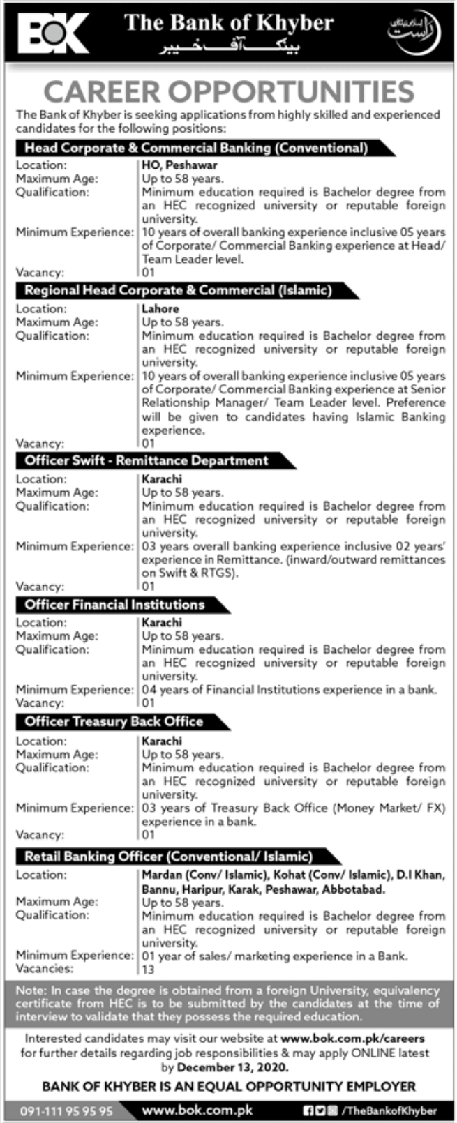 The Bank of Khyber BOK Jobs November 2020