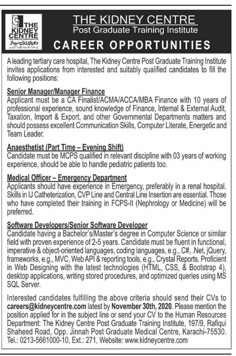 The Kidney Centre Jobs November 2020