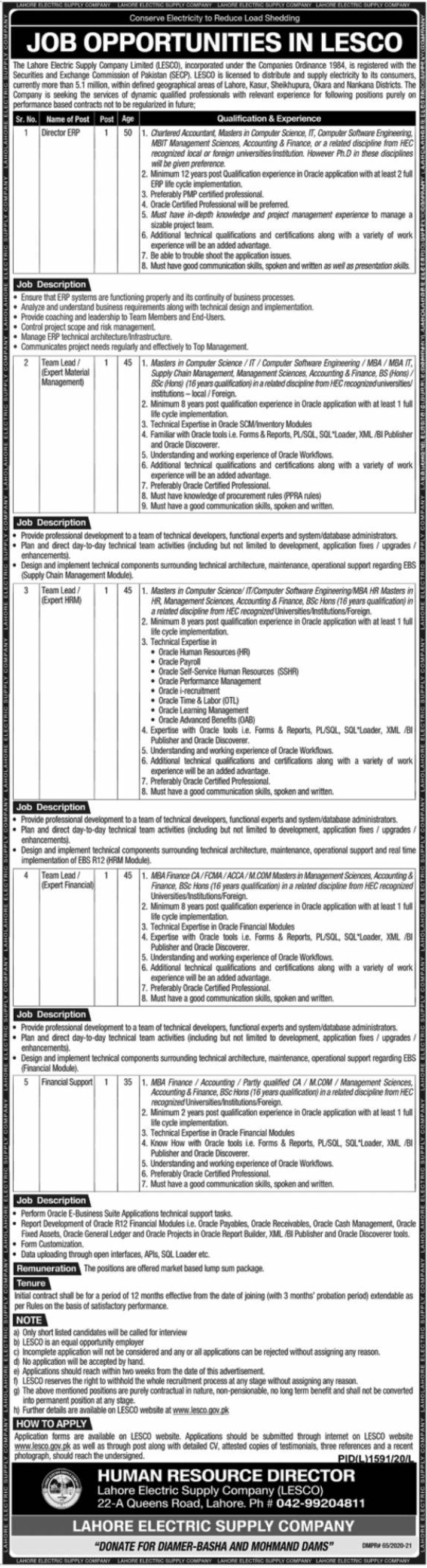 The Lahore Electric Supply Company Limited LESCO Jobs November 2020