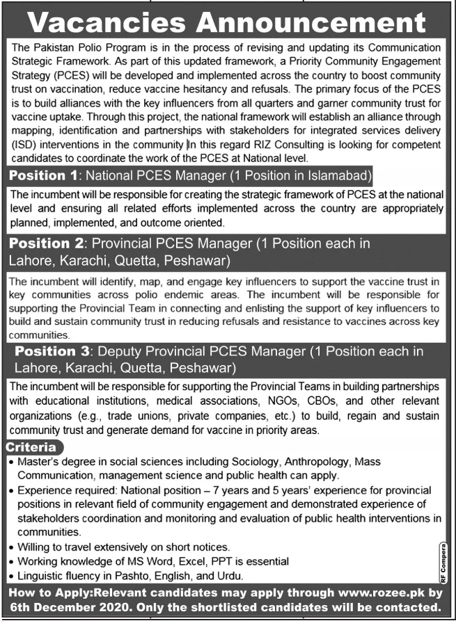 The Pakistan Polio Program Jobs November 2020