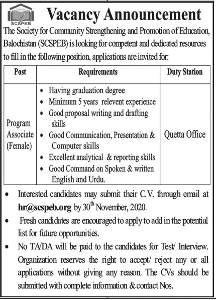 The Society for Community Strengthening and promotion of Education Balochistan Jobs November 2020
