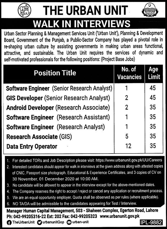 The Urban Unit Government of the Punjab Jobs November 2020