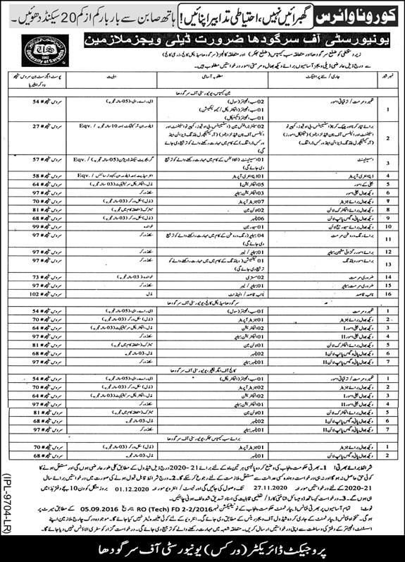 University of Sargodha Jobs November 2020