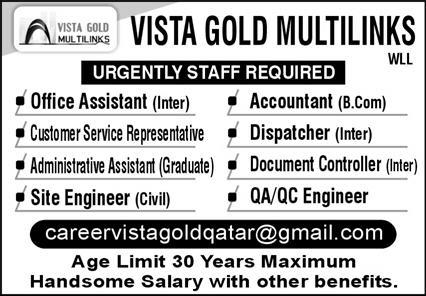 Vista Gold Multilink WLL Jobs November 2020