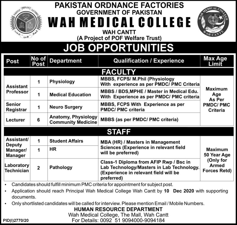 Wah Medical College Jobs November 2020