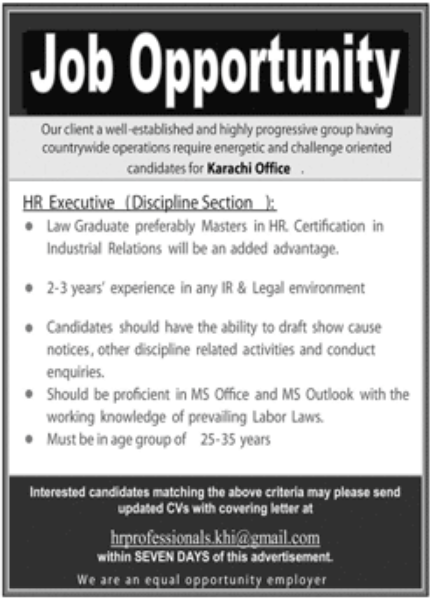 Well Established Progressive Group Karachi Jobs November 2020