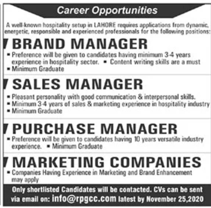 Well Known Hospitality Setup in Lahore Jobs November 2020