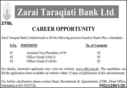 Zarai Taraqiati Bank Ltd Jobs November 2020