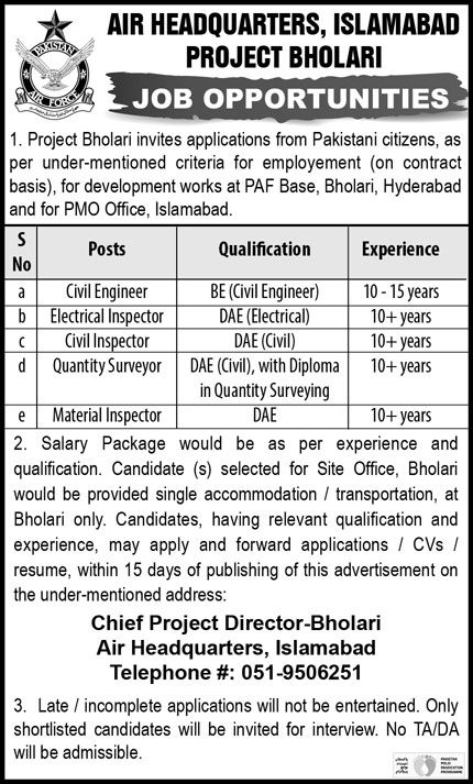 Air Headquarters Islamabad Jobs December 2020