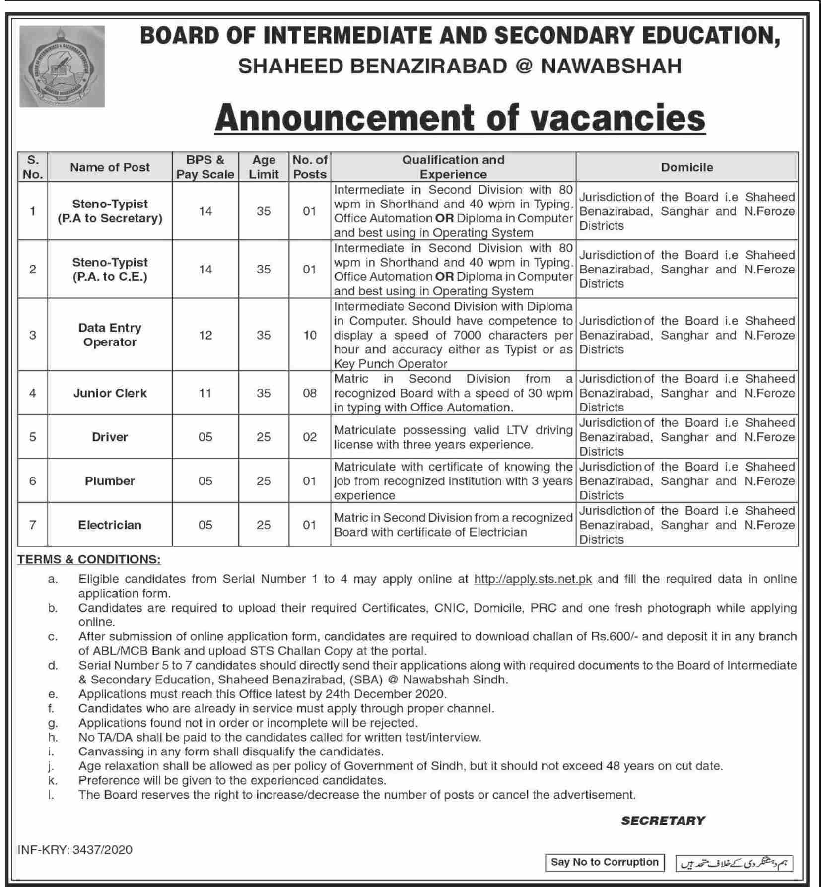 Board of Intermediate and Secondary Education Jobs December 2020