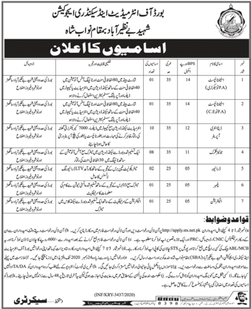 Board of Intermediate and Secondary Education Shaheed Benazirabad Jobs December 2020