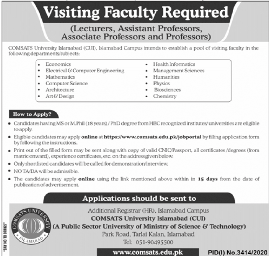 COMSATS University Islamabad CUI Jobs December 2020