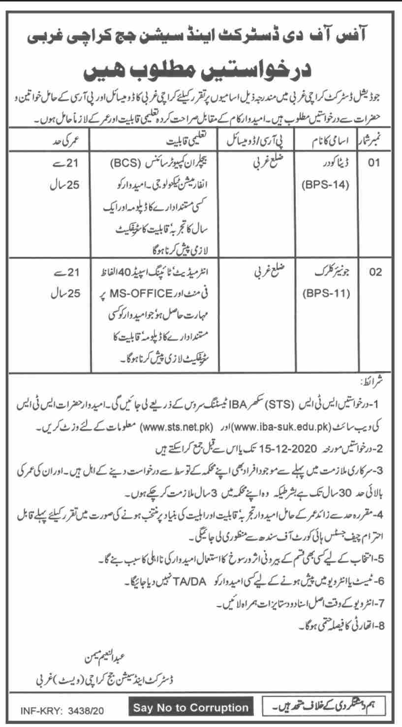 District & Session Judge Karachi Jobs December 2020