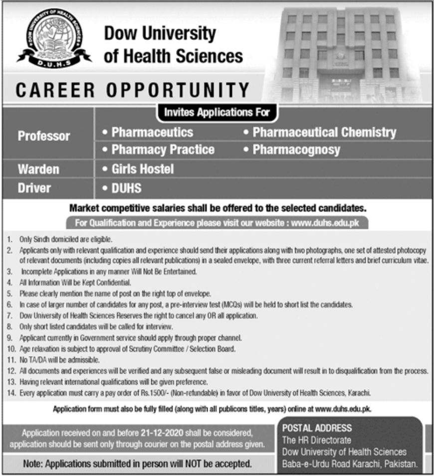 Dow University of Health Sciences Jobs December 2020