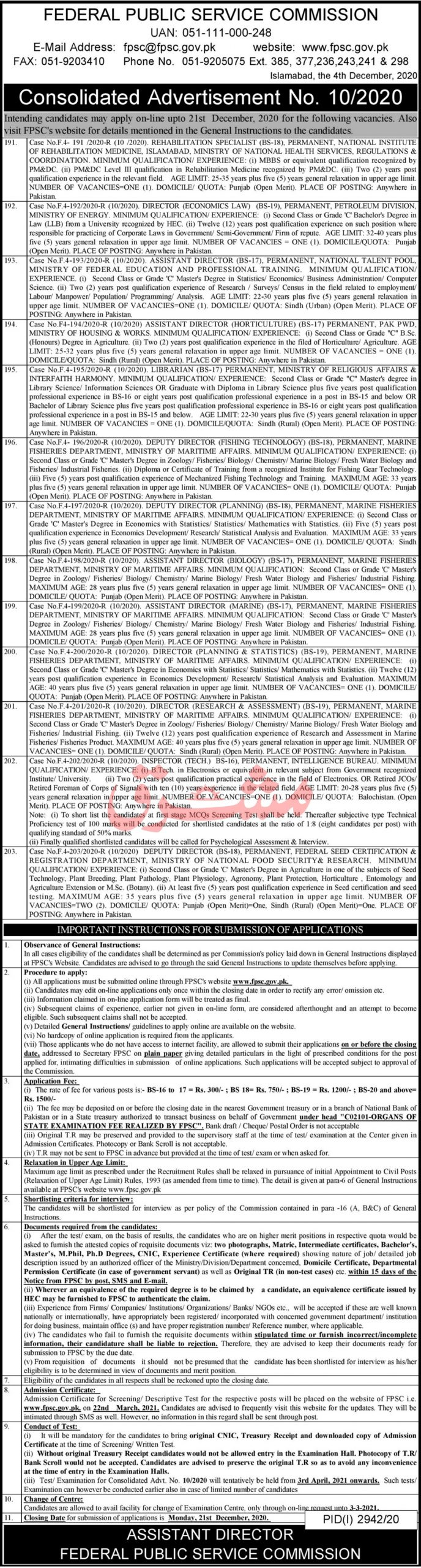 Federal Public Service Commission FPSC Jobs December 2020