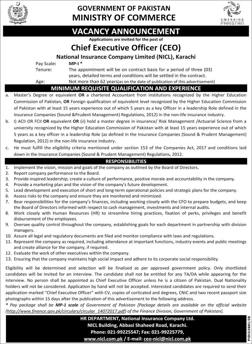 Government of Pakistan Ministry of Commerce Jobs December 2020