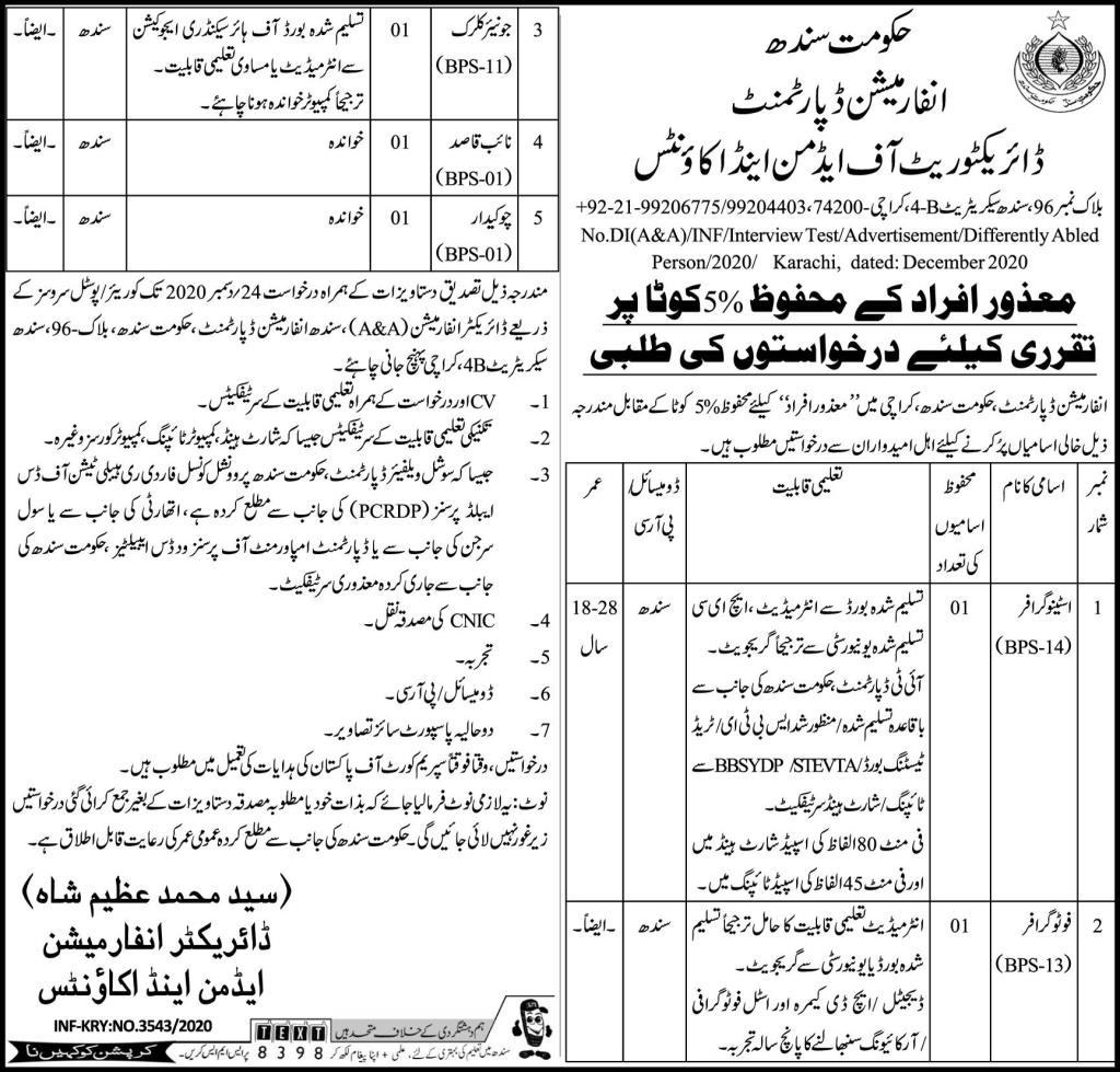 Government of Sindh Information Department Jobs December 2020